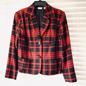 Kim Rogers Red and Black Plaid Jacket Size 12